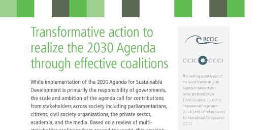 LAUNCH OF NEW WORKING PAPER ON COALITIONS AND AGENDA 2030