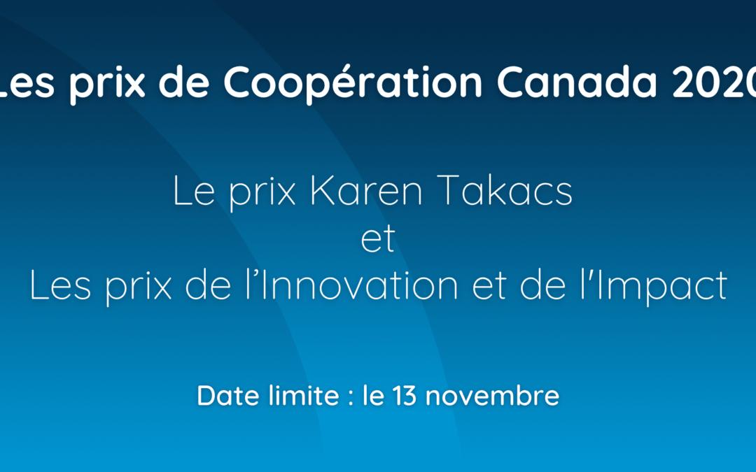 Appel de candidatures en cours pour les prix de Coopération Canada 2020