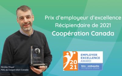 Coopération Canada reçoit le prix d'excellence des employeurs 2021 de Embauche Immigrants Ottawa