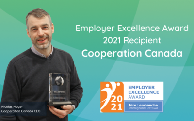 Cooperation Canada receives the Employer Excellence Award 2021 from Hire Immigrants Ottawa